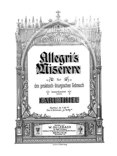 Allegri's Miserere für gemischten Chor a capella
