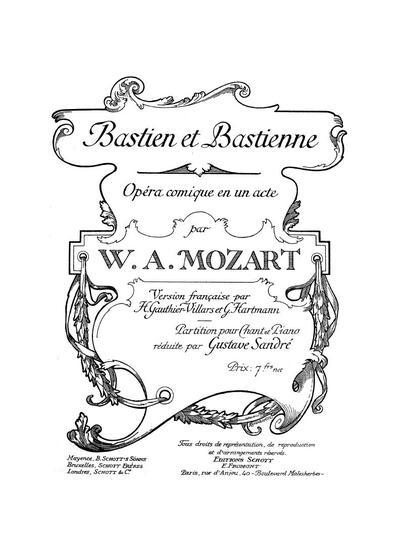 Bastien et Bastienne opéra comique en 1 acte