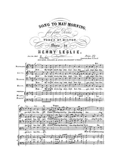 Song to may-morning for four voices with pianoforte accompaniment