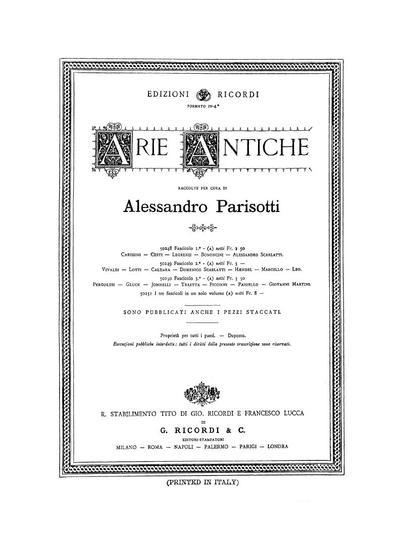Arie antiche per voce con accomp. di piano