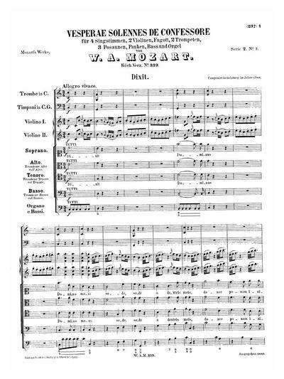 Vesperae solennes de confessore für 4 Singstimmen, 2 Violinen, Fagott, 2 Trompeten, 3 Posaunen, Pauken, Bass und Orgel