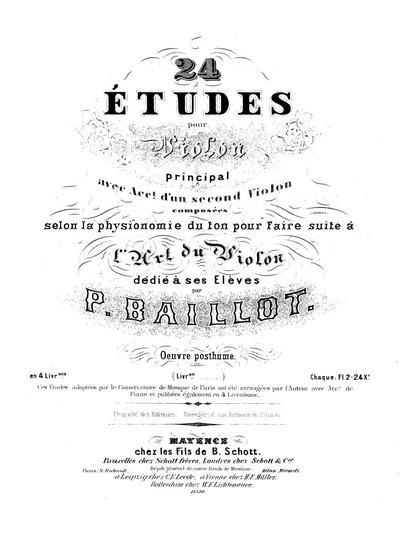 24 études pour violon principal avec acc. d'un second violon - Livr. 1 :: № 1-6