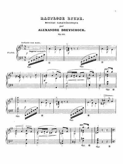 Rastlose Liebe morceau caractéristique. Op. 112