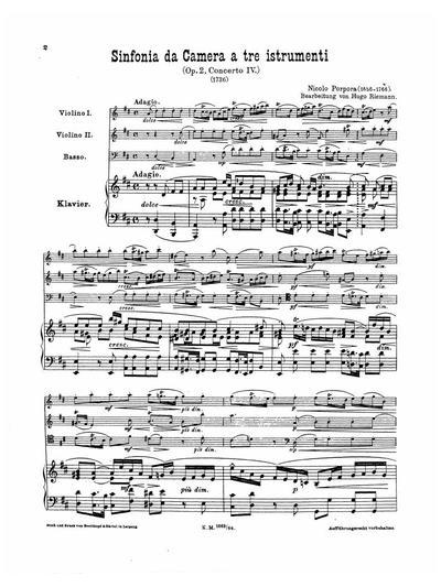 Sinfonia da camera. (Op. 2, Concerto IV) Trio in D-dur : für 2 Violinen, Violoncell und Pianoforte