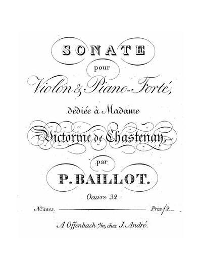 Sonate pour violon & pianoforté a-moll. Oeuv. 32