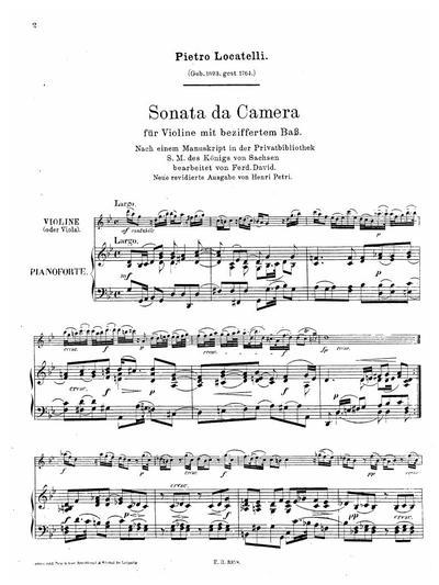 Sonata da camera G moll für Violine mit beziffertem Bass
