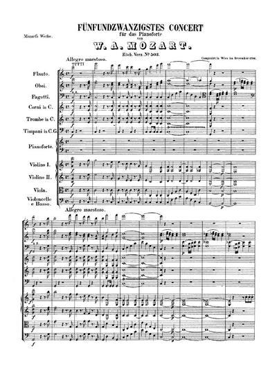 Fünfundzwanzigstes Concert C-dur für das Pianoforte. KV № 503