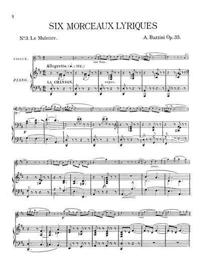 Six morceaux lyriques pour violon avec accompagnement de piano № 3. Le muletier