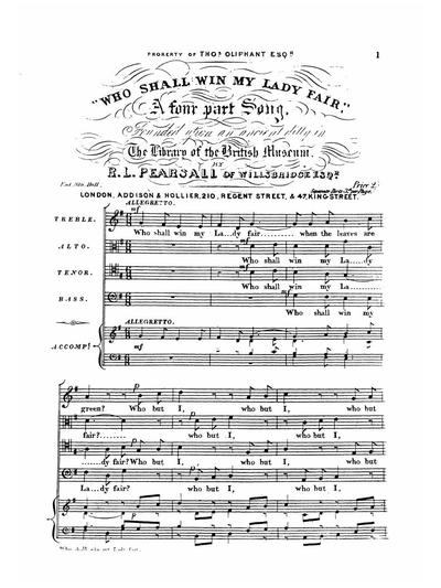 Who shall win my lady fair a 4 part song