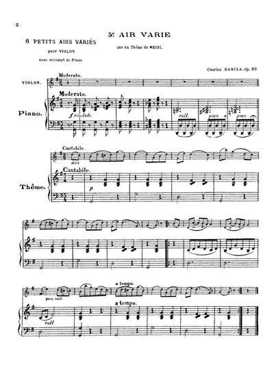 Air varie sur un theme de Weigl, № 5 pour violon accomp. de piano: Op. 89