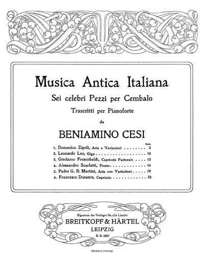Musica antica italiana sei celebri pezzi per cembalo