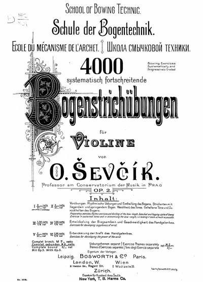 Schule der Bogentechnik 4000 systematisch fortschreitende Bogenstrichubungen fur Violine : Op. 2 : 40 Variations faciles pour le violon : Op. 3