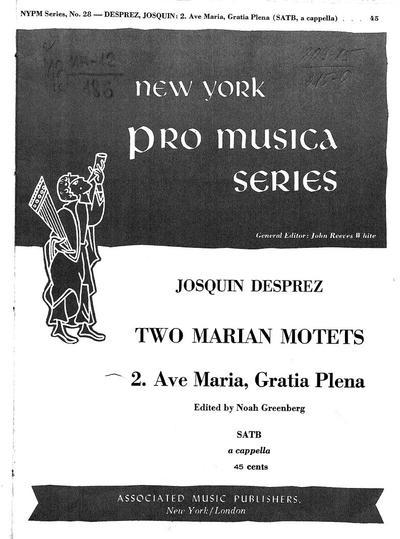 Two Marian motets for four-part chorus of mixed voices, a capella : No. 2. Ave Maria, gratia plena