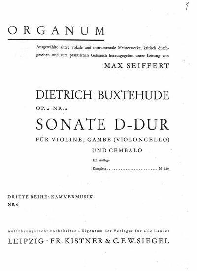 Sonate D-dur fur Violine, Gambe (Violoncello) und Cembalo : Op. 2 Nr. 2