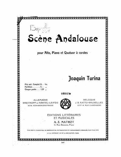 Scene andalouse pour alto, piano et quatuor a cordes
