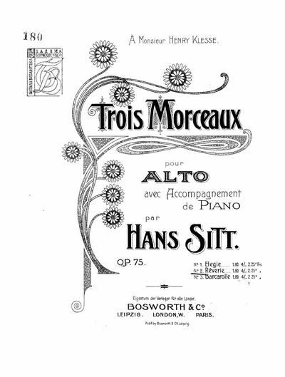 Trois morceaux pour alto avec accompagnement de piano : Op. 75 Nr. 2. Reverie
