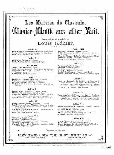 Les maitres du clavecin Clavier-Musik aus alter Zeit - Cahier 3