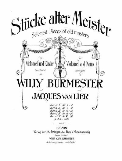 Stucke alter Meister fur Violoncell und Klavier - Band 4: Nr. 19-24