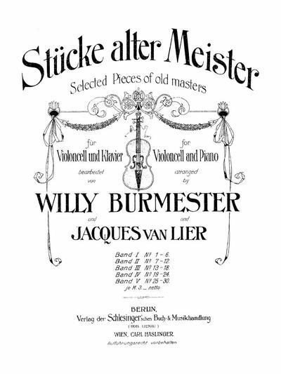 Stucke alter Meister fur Violoncell und Klavier - Band 2: Nr. 7-12