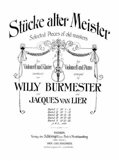 Stucke alter Meister fur Violoncell und Klavier - Band 3: Nr. 13-18