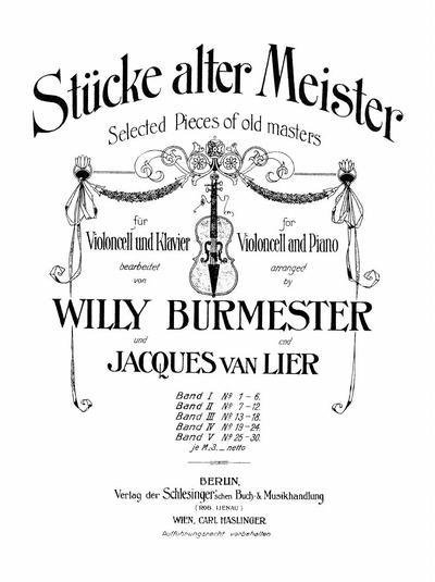 Stucke alter Meister fur Violoncell und Klavier - Band 1: Nr. 1-6