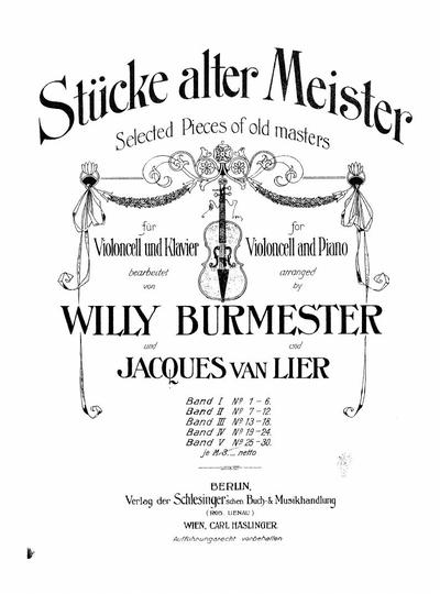 Stucke alter Meister fur Violoncell und Klavier - Band 5: NN. 25-30