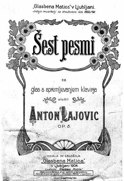 Sest pesmi za glas s spremljevanjem klavirja : Op. 5 NN. 1-9