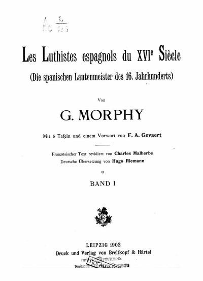 Les luthistes espagnols du XVI-e siecle