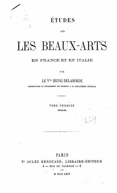 Etudes sur les beaux-arts en France et en Italie - Tome 1: Italie