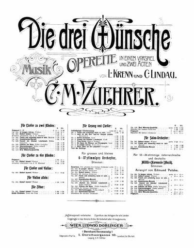 Die drei Wunsche Operette in einem Vorspiel und 2 Acten : Potpourri 2