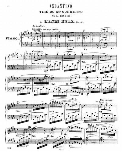 Andantino tire du 5-me concerto (en fa mineur) : Op. 180