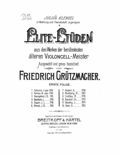 Elite-Etüden aus den Werken der berühmtesten älteren Violoncell-Meister - Folge 1: 1 - 12