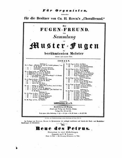 """Der Fugen-Freund oder Sammlung von Muster-Fugen : der berühmtesten Meister älterer und neuerer Zeit : für Organisten, insbesondere für die Besitzer von Ch. H. Rinck's """"Choralfreund"""" - Lieferung 9 & 10"""