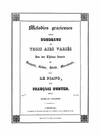 3-e Rondeau ; Mélodie variée choeur des marins (Mercadante) : Venitienne : Op. 78 N. 3-4