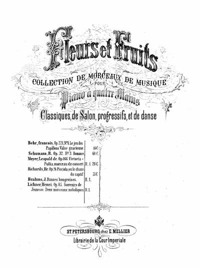 Souvenirs de jeunesse deux morceaux mélodiques : Op. 85