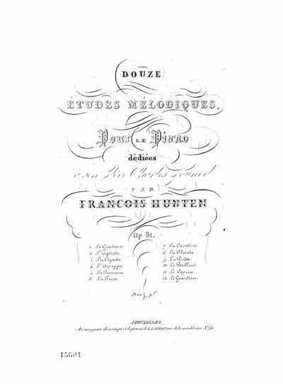 Douze études mélodiques pour le piano : Op. 81. NN. 1-12