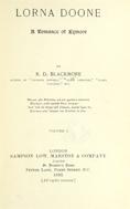 Lorna Doone : A romance of Exmoor. Volume 1.