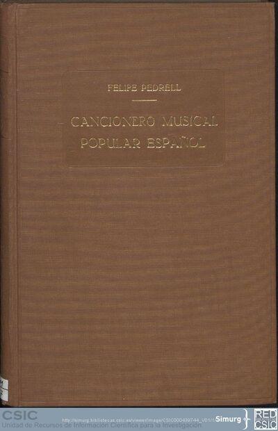 Cancionero musical popular español; Cancionero musical popular español (Vol. 01)