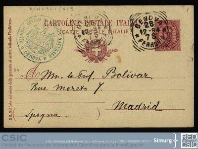 Personal Científico   Ignacio Bolívar y Urrutia; Postal de Leonardo Fea dirigida a Ignacio Bolívar