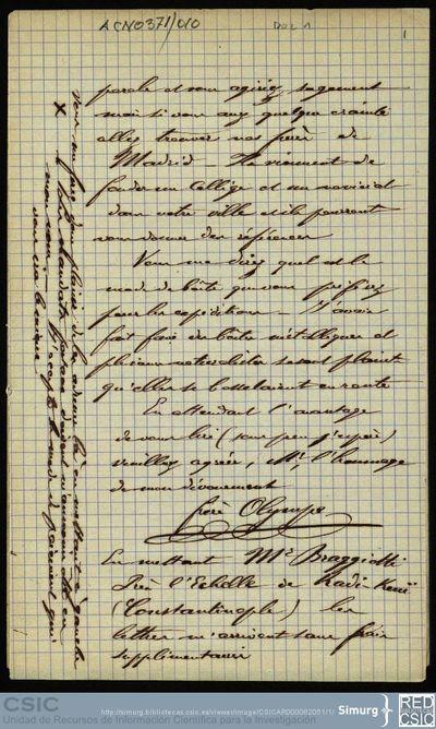 Personal Científico   Ignacio Bolívar y Urrutia; Correspondencia del hermano Olympe a Ignacio Bolívar