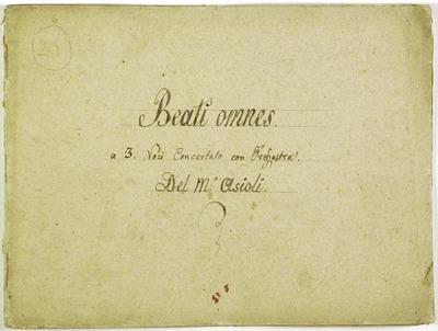 Beati omnes.; Salmo 127.; 3V (TTB), coro 3V (TTB), orch, bc.; Mib.