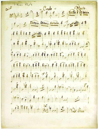 Credo.; 3V (TTB), coro 3V (TTB), orch, bc.; Mib.; Trascr.:; fiati, timp, org.; Mib