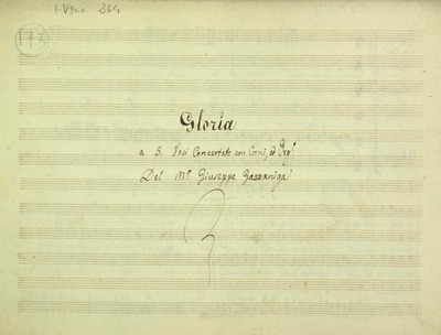 Gloria.; 3V (TTB), coro 3V (TTB), 2 cor, bc.; Do.