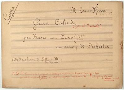 Anno a creatione mundi.; Mottetto.; B, coro 2V (SS), orch, bc.; Do.; Per natale