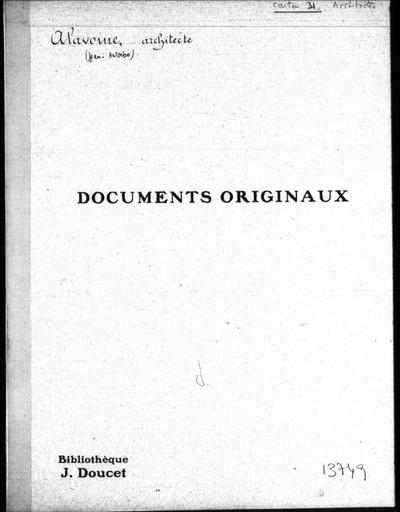 Autographes, Carton 31 : Architectes Ala-Des