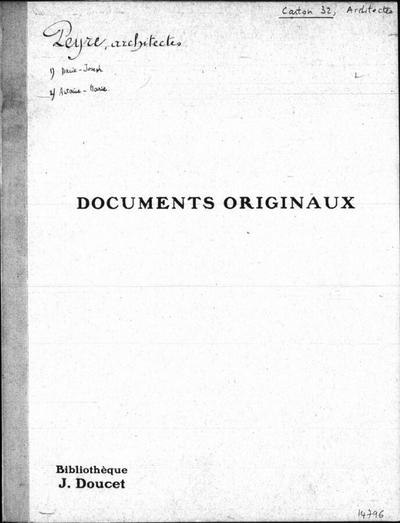 Autographes, Carton 32bis : Architectes Pey-Vis