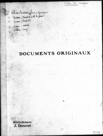 Autographes, Carton 33 : Graveurs Aud-Den