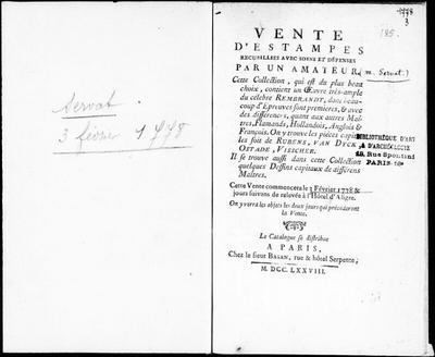 Vente d'estampes recueillies avec soins et dépenses par un amateur [...] : [vente du 3 février 1778]; Vente d'estampes recueillies avec soins et dépenses par un amateur, cette collection, qui est du plus beau choix,...