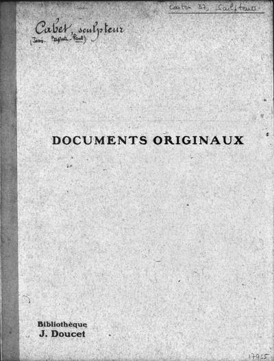 Autographes, Carton 37 : Sculpteurs Cab-Cra