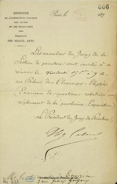 Note d'Alexandre Cabanel au comte de Tauzia